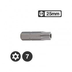 Force 1272507 - 1/4″ Star Tamperproof Bit 25mm - TT7