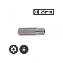Force 1272506 - 1/4″ Star Tamperproof Bit 25mm - TT6