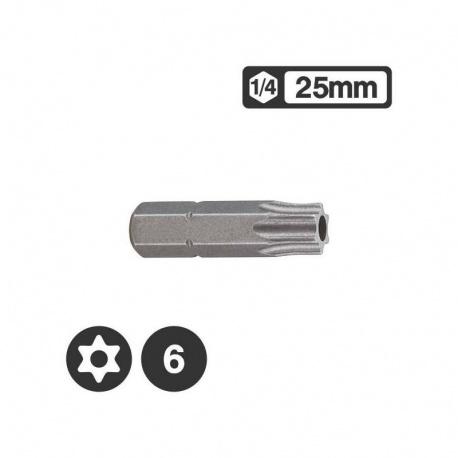Force 1272506 - 1/4″ Star Tamperproof Bit 25mm - TT6