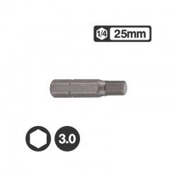 """1242503 - 1/4"""" Hex Bit 25mm - 3.0mm"""