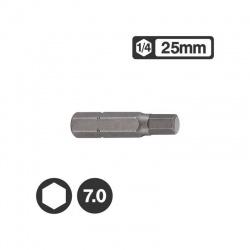 """1242507 - 1/4"""" Hex Bit 25mm - 7.0mm"""