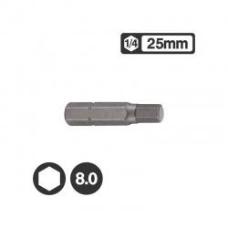 """1242508 - 1/4"""" Hex Bit 25mm - 8.0mm"""