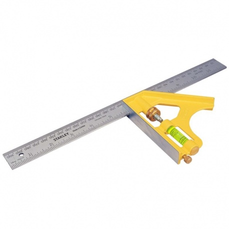 Stanley 2-46-028 Die cast combination square with level - 30cm