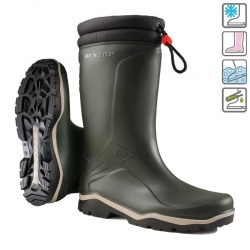 Dunlop Blizzard Waterproof Low-Temperature Wellington Boots Green