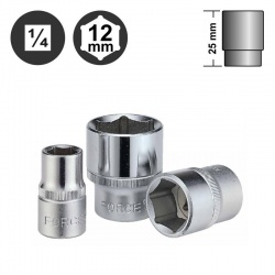 """52512 - 1/4"""" 6pt. Flank Socket - 12mm"""