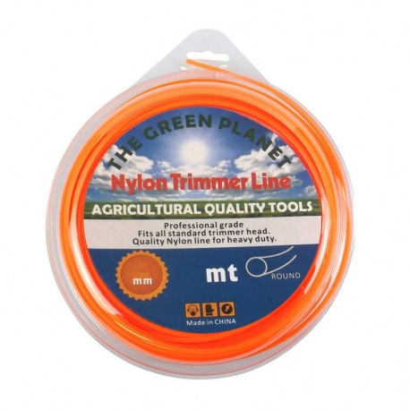 Νάυλον νήμα χορτοκοπτικών στρόγγυλο πορτοκαλί, 3.3mm x 46m