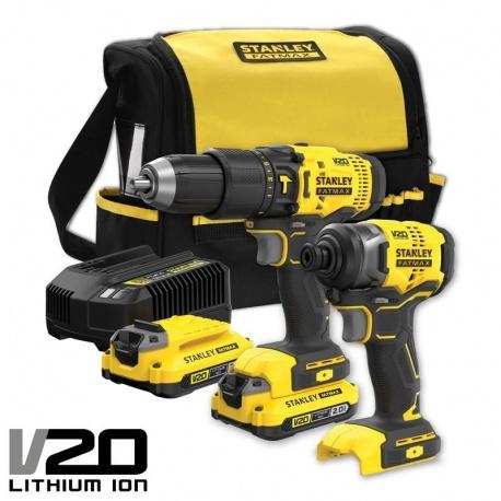 Stanley SFMCK465D2S V20 Li-Ion 18V 2Ah cordless drill & impact screwdriver kit