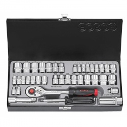 """3391 1/4"""" & 3/8"""" Metcric and Imperial Socket Set - 39 pcs"""