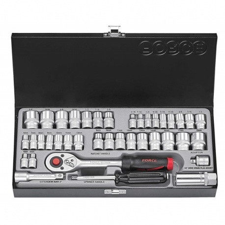 """Force 3391 1/4"""" & 3/8"""" 39 pcs metcric and imperial socket set"""